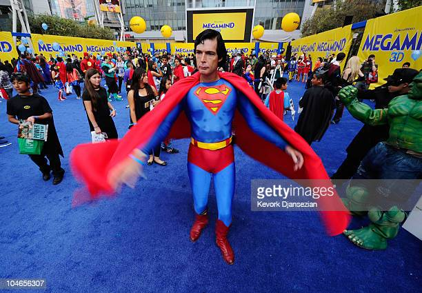 Christopher Dennis dressed as a costumed supehero Superman joins over 1580 costumed superheroes to break the Guinness World Record for the largest...