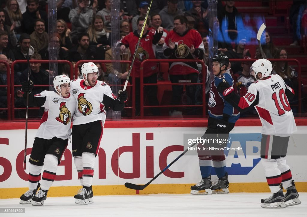 Christopher DiDomenico #49 of Ottawa Senators celebrates after scoring to 3-2 during the 2017 SAP NHL Global Series match between Ottawa Senators and Colorado Avalanche at Ericsson Globe on November 10, 2017 in Stockholm, .