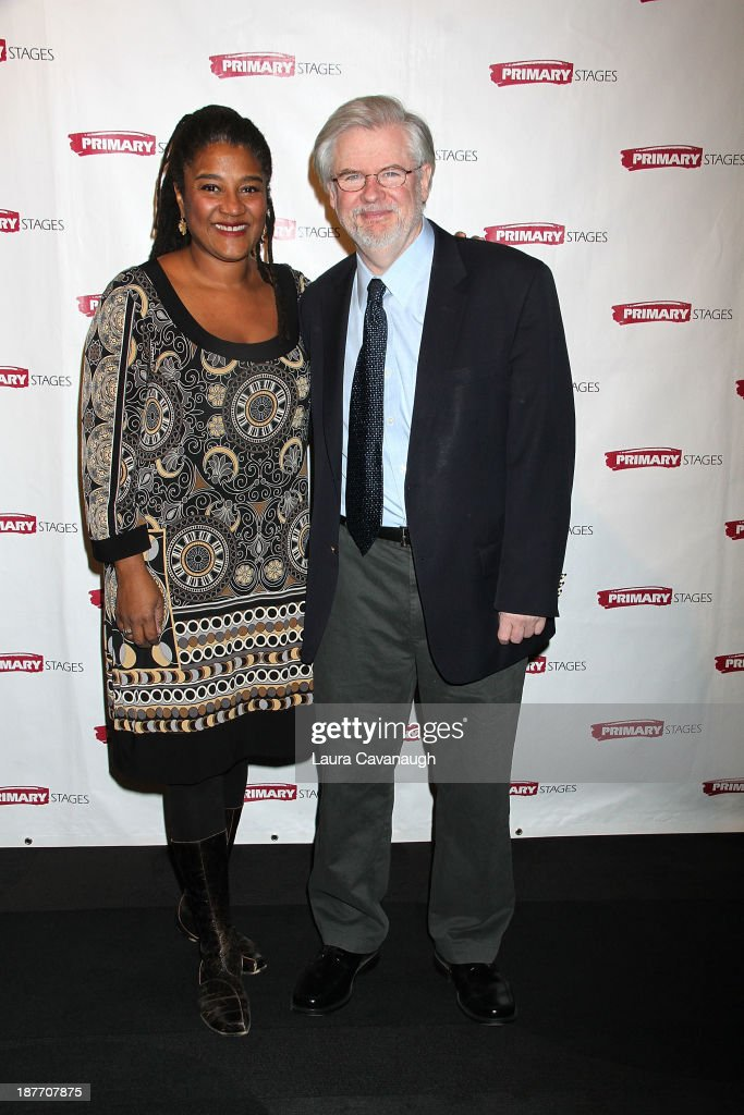 Christopher Durang and Lynn Nottage attend the 2013 Primary Stages Annual Gala at The Edison Ballroom on November 11, 2013 in New York City.