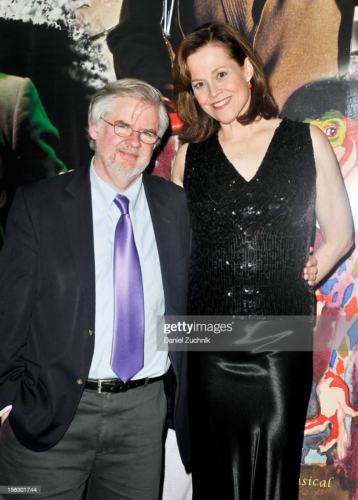 Christopher Durang and <a gi-track='captionPersonalityLinkClicked' href=/galleries/search?phrase=Sigourney+Weaver&family=editorial&specificpeople=201647 ng-click='$event.stopPropagation()'>Sigourney Weaver</a> attend the 'Vanya and Sonia and Masha and Spike,' press night at Mitzi E. Newhouse Theater on November 12, 2012 in New York City.