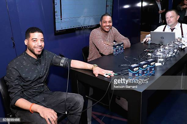 Christopher Elias Carmelo Anthony and Daniel Ribacoff appear as Carmelo Anthony brings the heat in the Gillette Clinical Clear Gel Pressure Chamber...