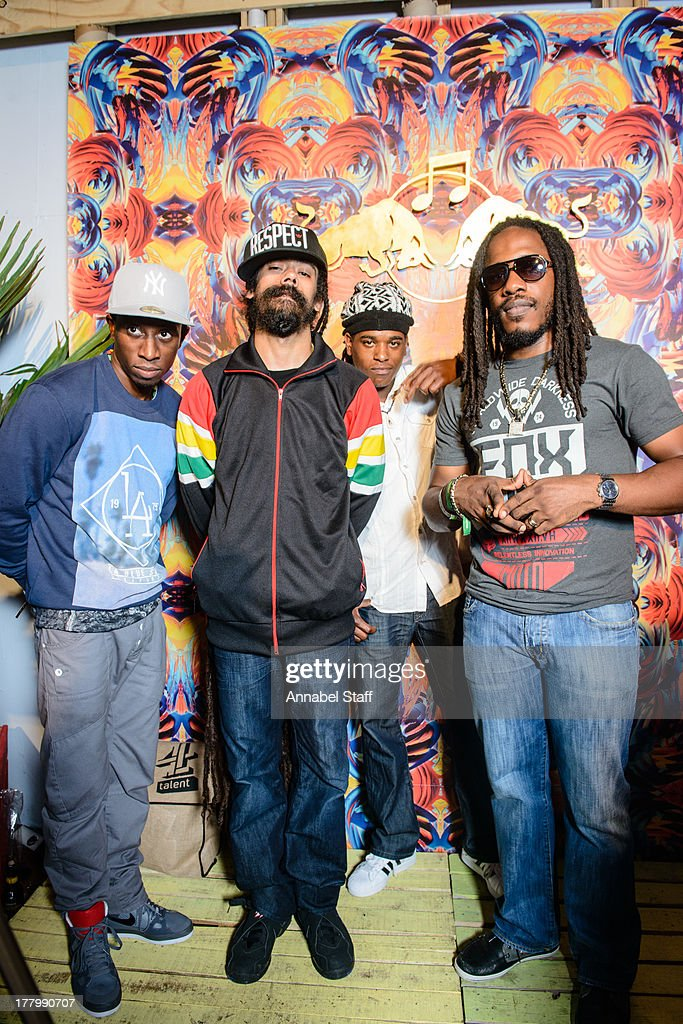 Christopher Ellis, <a gi-track='captionPersonalityLinkClicked' href=/galleries/search?phrase=Damian+Marley&family=editorial&specificpeople=224631 ng-click='$event.stopPropagation()'>Damian Marley</a>, Black Am I and <a gi-track='captionPersonalityLinkClicked' href=/galleries/search?phrase=Wayne+Marshall&family=editorial&specificpeople=469696 ng-click='$event.stopPropagation()'>Wayne Marshall</a> pose for a portrait at the Red Bull Music Academy Sound System at Notting Hill Carnival at Notting Hill on August 26, 2013 in London, England.