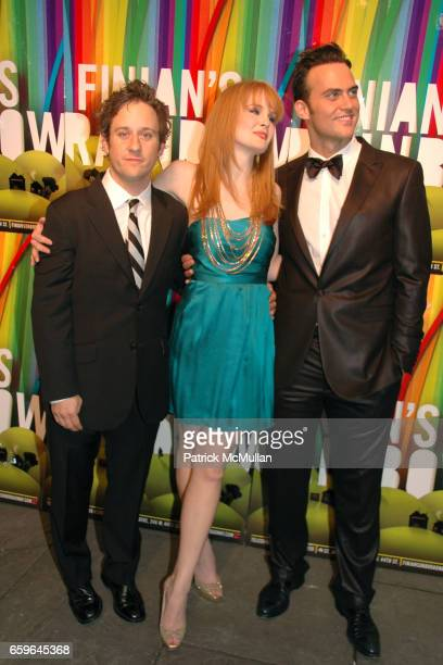Christopher Fitzgerald Kate Baldwin and Cheyenne Jackson attend FINIAN'S RAINBOW Broadway OPENING After Party at Bryant Park Grill on October 29 2009...