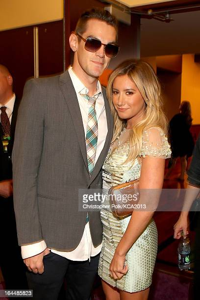 Christopher French and singer Ashley Tisdale seen backstage at Nickelodeon's 26th Annual Kids' Choice Awards at USC Galen Center on March 23 2013 in...