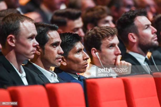 Christopher Froome Alberto Contador Nairo Quintana Simon Yates and Mark Cavendish during the presentation of the Tour de France 2018 at Palais des...