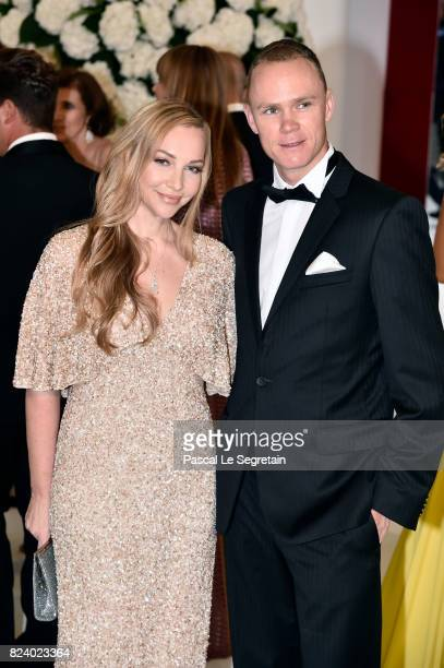Christopher Froome and his wife Michelle Cound attend the 69th Monaco Red Cross Ball Gala at Sporting MonteCarlo on July 28 2017 in MonteCarlo Monaco