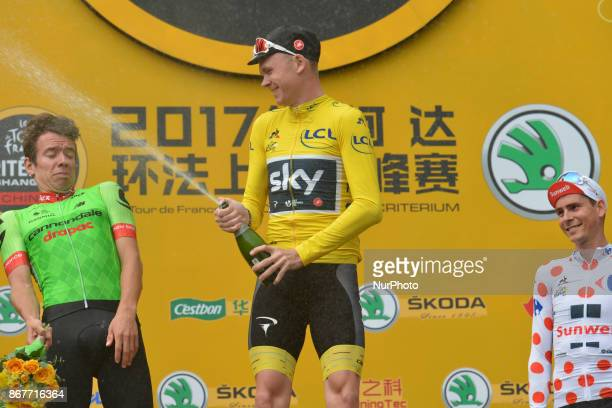 Christopher FROOME from Team SKY celebrates his win in the 1st TDF Shanghai Criterium 2017 ahead of Rigoberto URAN from Canondale Drapac and Warren...