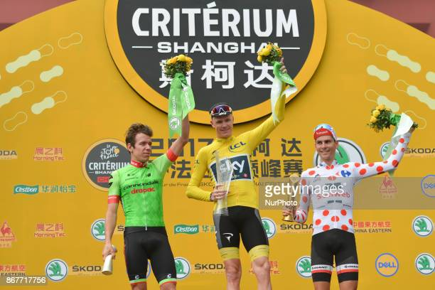 Christopher FROOME from Team SKY wins the 1st TDF Shanghai Criterium 2017 ahead of Rigoberto URAN from Canondale Drapac and Warren BARGUIL from...