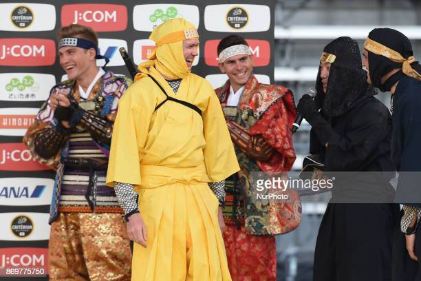 Christopher FROOME Marcel KITTEL and Warren BARGUIL during Samurai vs Ninja combat demonstration at the 5th edition of TDF Saitama Criterium 2017...