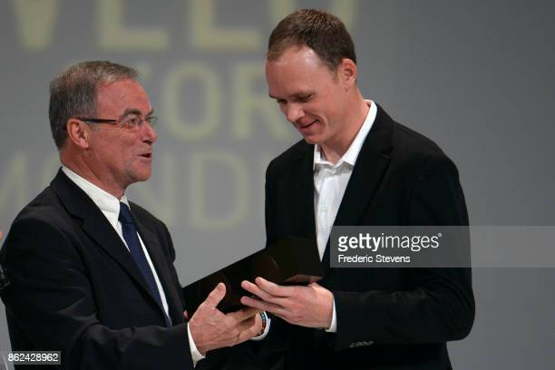 Christopher Froome named Vlo d'Or 2017 by a jury of international journalists receives his trophy from Bernard Hinault during Le Tour de France 2018...