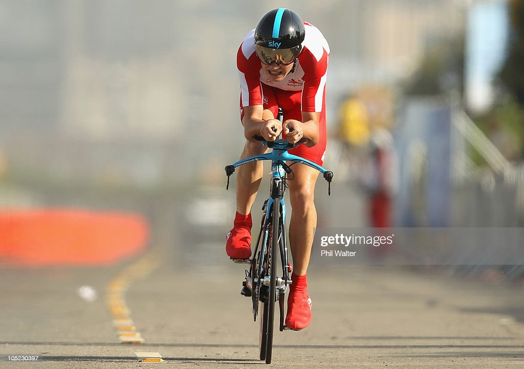 Christopher Froome of England competes in the Individual Time Trial during day ten of the Delhi 2010 Commonwealth Games on October 13, 2010 in Delhi, India.