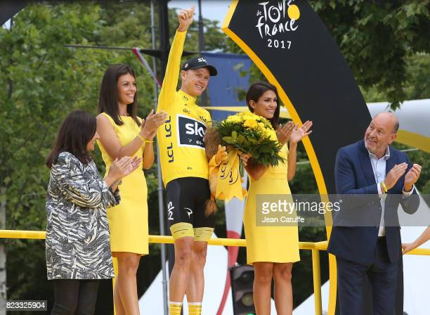 Christopher Froome of Great Britain and Team Sky celebrates winning the Tour de France 2017 during the trophy ceremony following stage 21 a 103km...