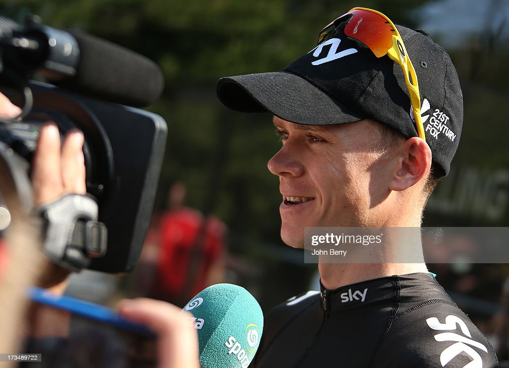 Christopher Froome of Great Britain and Team Sky Procycling answers questions from journalists during the second rest day of the 2013 Tour de France on July 15, 2013 in Orange, Vaucluse, France.