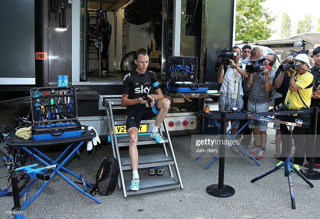 Christopher Froome of Great Britain and Team Sky Procycling during the second rest day of the 2013 Tour de France on July 15, 2013 in Orange, Vaucluse, France.