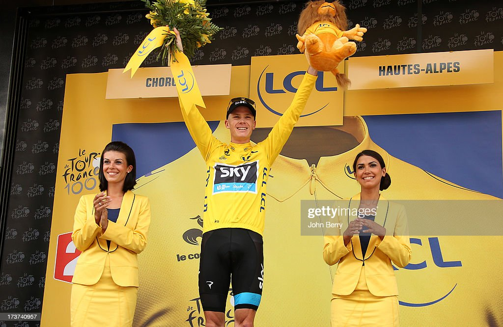 Christopher Froome of Great Britain and Team Sky Procycling consolidates his leader's yellow jersey by winning stage seventeen of the 2013 Tour de France, a 32KM Individual Time Trial from Embrun to Chorges on July 17, 2013 in Chorges, France.