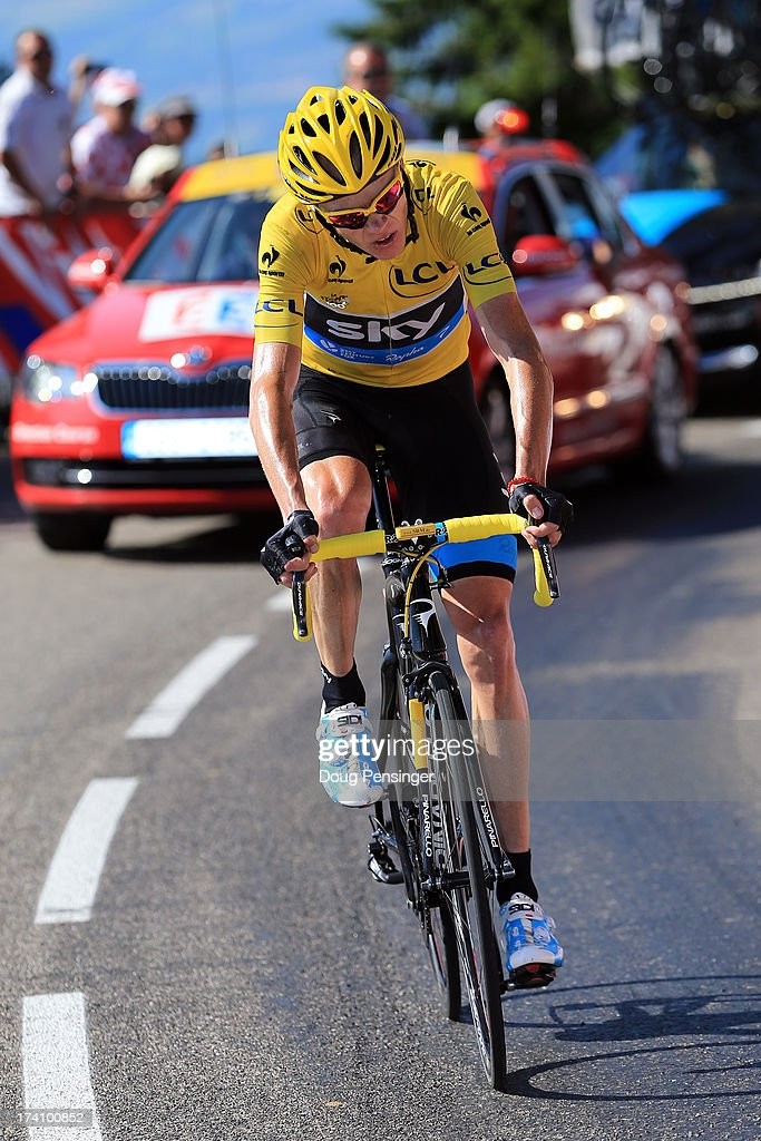 Christopher Froome of Great Britain and Team Sky Procycling in action on the final climb stage twenty of the 2013 Tour de France, a 125KM road stage from Annecy to Annecy-Semnoz, on July 20, 2013 in Annecy, France.