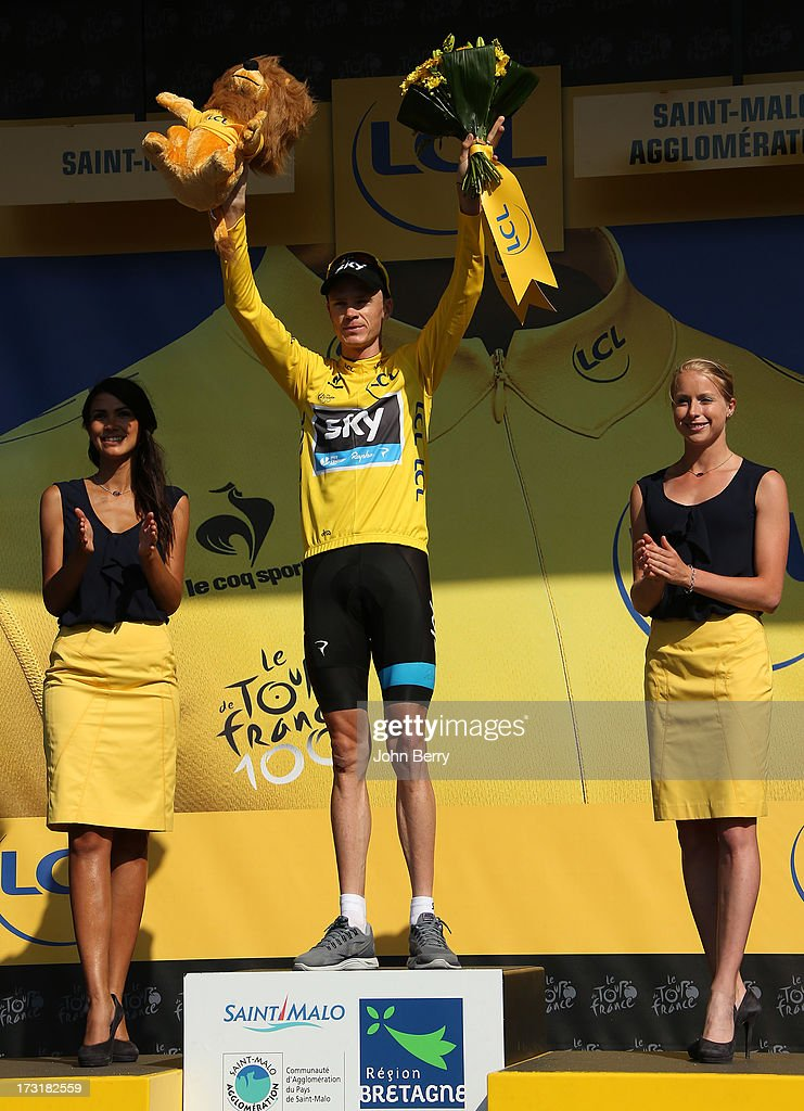 Christopher Froome of Great Britain and Team Sky Procycling keeps the leader's yellow jersey after Stage Ten of the Tour de France 2013 - the 100th Tour de France -, a 197 km road stage from Saint-Gildas-des-Bois to Saint-Malo on July 9, 2013 in Saint-Malo, France.