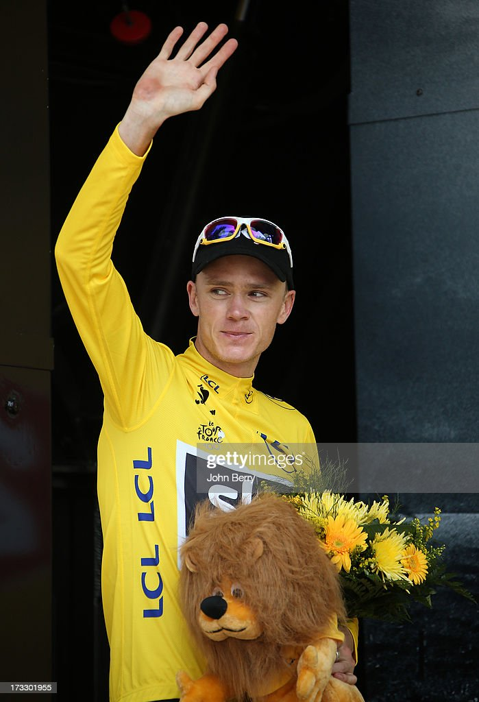 Christopher Froome of Great Britain and Team Sky Procycling keeps the leader's yellow jersey after Stage Twelve of the Tour de France 2013, the 100th edition, a 218 km road stage from Fougeres to Tours on July 11, 2013 in Tours, France.