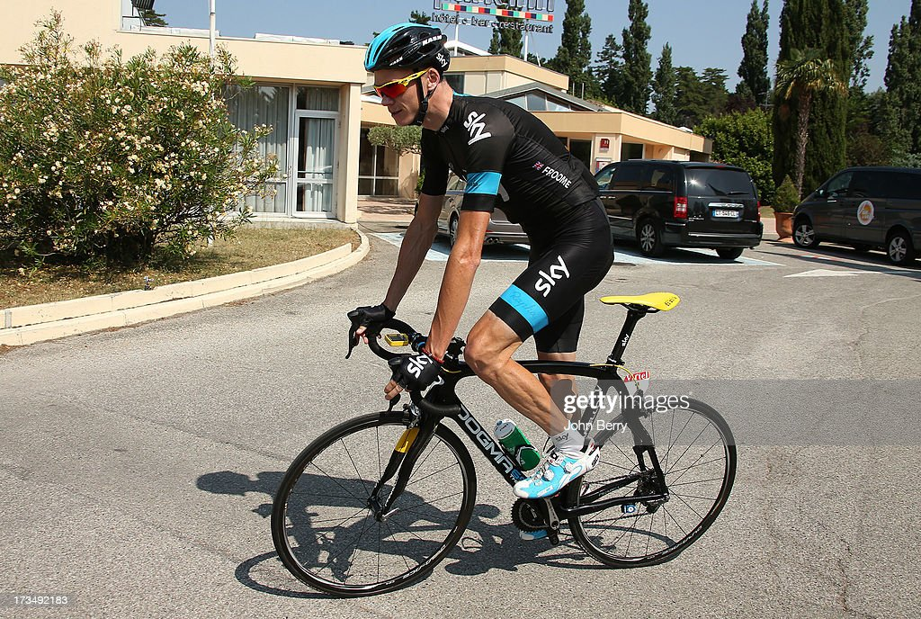 Christopher Froome of Great Britain and Team Sky Procycling rides with his teammates during the second rest day of the 2013 Tour de France on July 15, 2013 in Orange, Vaucluse, France.