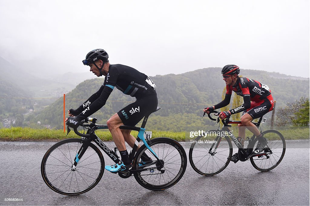 Christopher Froome of Great Britain and Tejay Van Gardenren of the US in the attack during stage 4 of the Tour de Romandie on April 30, 2016 in Villars-sur-Ollon, Switzerland.