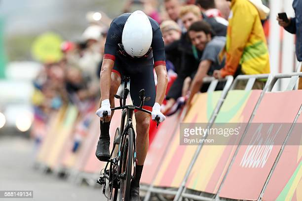 Christopher Froome of Great Britain crosses the finish line in the Cycling Road Men's Individual Time Trial on Day 5 of the Rio 2016 Olympic Games at...