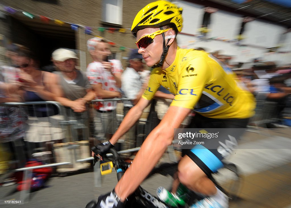 Christopher Froome of Great Britain rides for Team Sky Procycling during Stage 10 of the Tour de France from Saint-Gildas-des-Bois to Saint-Malo on July 9, 2013 in Saint-Malo, France.