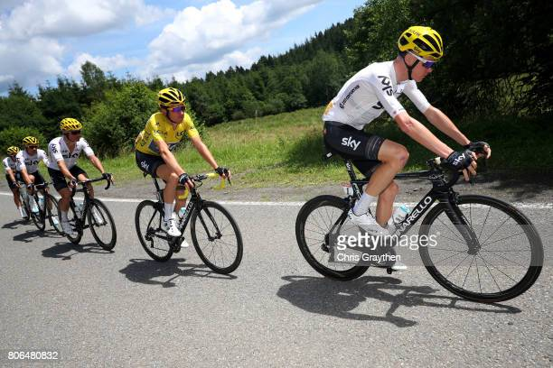 Christopher Froome of Great Britain riding for Team Sky and Geraint Thomas of Great Britain riding for Team Sky ride in the peloton during stage...
