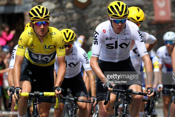 Christopher Froome of Great Britain riding for Team Sky and Geraint Thomas of Great Britain riding for Team Sky in the yellow leader's jersey ride in...
