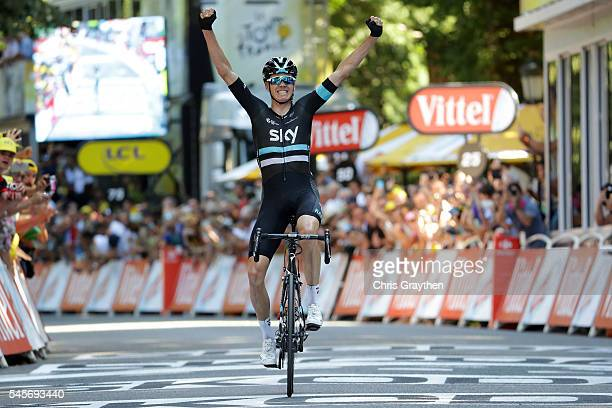Christopher Froome of Great Britain riding for Team Sky celebrates as he wins stage eight of the 2016 Le Tour de France a 184km stage from Pau to...