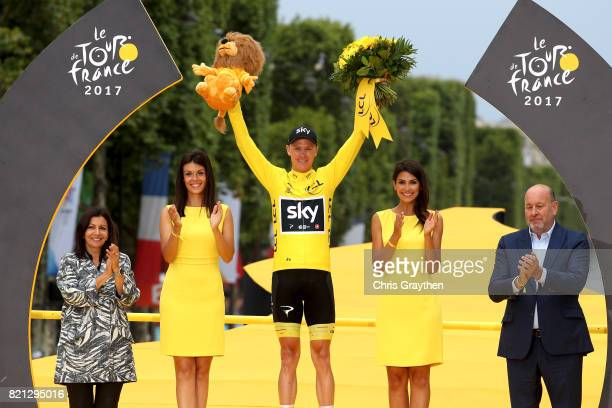 Christopher Froome of Great Britain riding for Team Sky celebrates on the podium after the overall general classification of the 2017 Le Tour de...