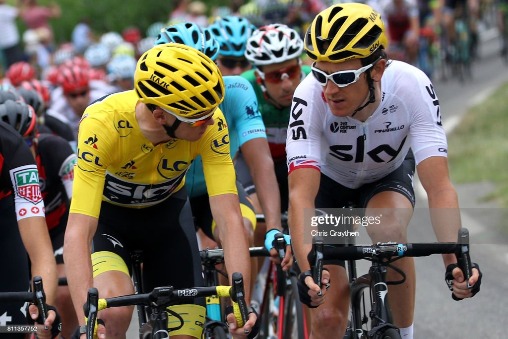 Christopher Froome of Great Britain riding for Team Sky in the leader's jersey and Geraint Thomas of Great Britain riding for Team Sky ride talk while riding in the peloton during stage 9 of the 2017 Le Tour de France, a 181.5km stage from Nantua to Chambéry on July 9, 2017 in Chambery, France.