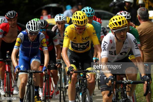 Christopher Froome of Great Britain riding for Team Sky in the leader's jersey rides in the peloton during stage 9 of the 2017 Le Tour de France a...