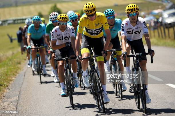 Christopher Froome of Great Britain riding for Team Sky in the leader's jersey rides in the peloton during stage 15 of the 2017 Le Tour de France a...