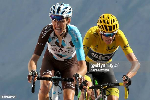 Christopher Froome of Great Britain riding for Team Sky in the leader's jersey sprints to the finish with Romain Bardet of France riding for AG2R La...
