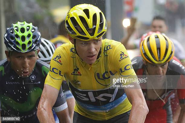 Christopher Froome of Great Britain riding for Team Sky in the yellow leader's jersey Nairo Alexander Quintana of Colombia riding for Movistar Team...