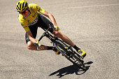 Christopher Froome of Great Britain riding for Team Sky in the yellow leader's jersey rides in the peloton during stage fifteen of the 2016 Le Tour...
