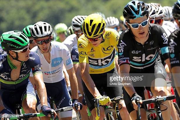 Christopher Froome of Great Britain riding for Team Sky in the yellow leader's jersey and Adam Yates of Great Britain riding for OricaBikeExchange in...