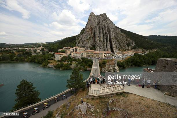 Christopher Froome of Great Britain riding for Team Sky in the yellow leader's jersey rides through Sisteron during stage 19 of the 2017 Le Tour de...
