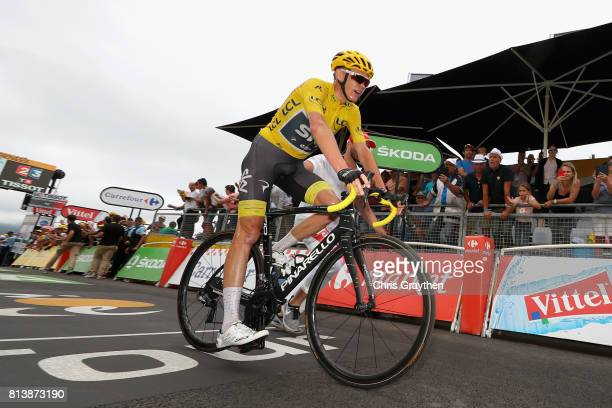 Christopher Froome of Great Britain riding for Team Sky reacts to finishing stage 12 of the Le Tour de France 2017 a 2145km stage from Pau to...