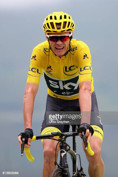 Christopher Froome of Great Britain riding for Team Sky reacts to crossing the line during stage 12 of the Le Tour de France 2017 a 2145km stage from...