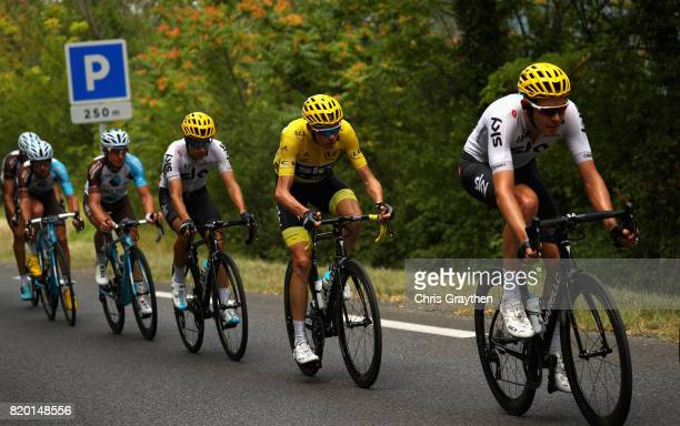 Christopher Froome of Great Britain riding for Team Sky rides at the front of the peloton on stage nineteen of the 2017 Tour de France a 2225km stage...