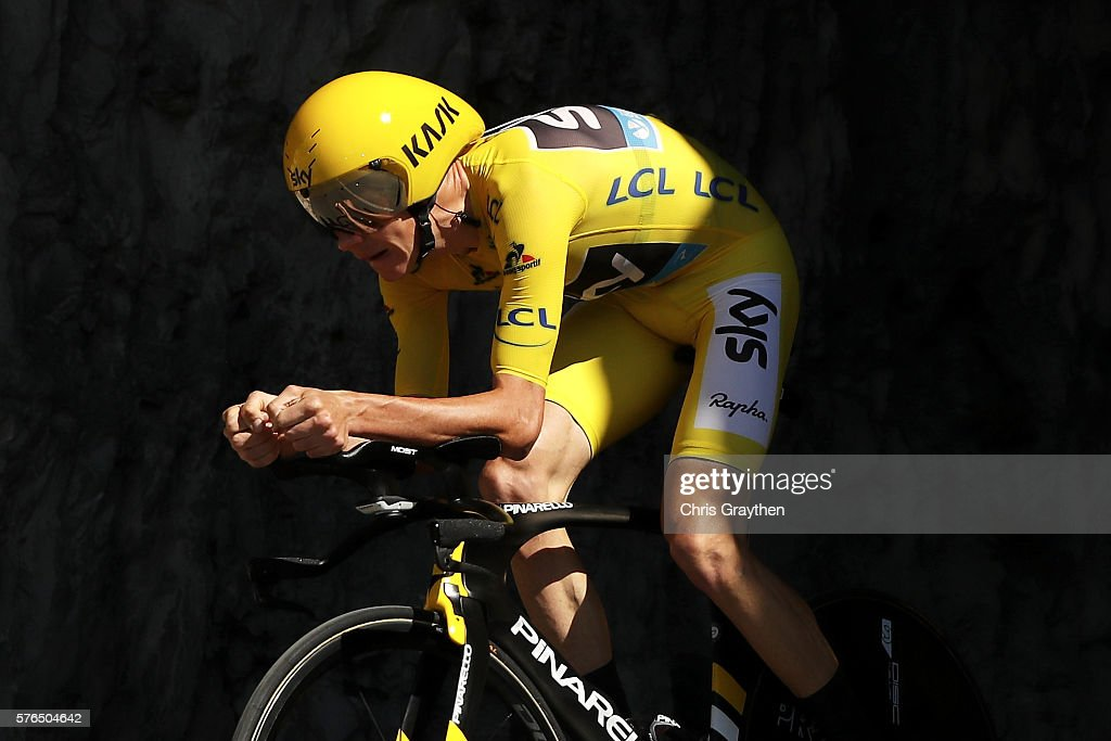 Christopher Froome of Great Britain riding for Team Sky rides during the stage thirteen individual time trial a 375km stage from BourgSaintAndéol to...