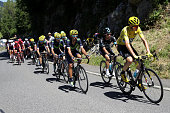 Christopher Froome of Great Britain riding for Team Sky rides in the peloton during stage seventeen of the 2016 Le Tour de France a 1845km stage from...