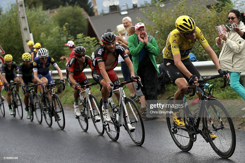 Christopher Froome of Great Britain riding for Team Sky rides in the peloton during stage ninteen of the 2016 Le Tour de France, a 146km stage from Albertville to Saint Gervais Mont Blanc on July 22, 2016 in Le Bettex, France.