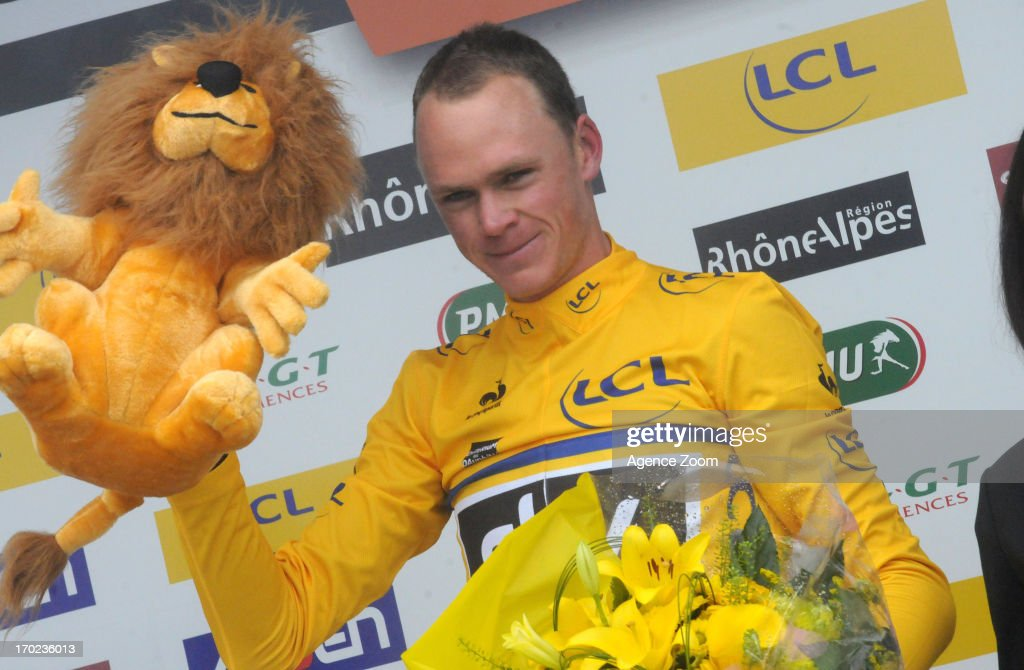 Christopher Froome of Team Sky Procycling on the final podium during Stage Eight of the Criterium du Dauphine, Sisteron to Risoul, France on Sunday 09 June 2013.