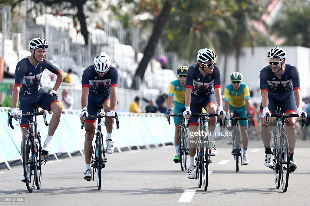 Christopher Froome, Stephen Cummings, Ian Stannard and Geraint Thomas of Great Britain are seen prior to the Men's Road Race on Day 1 of the Rio 2016 Olympic Games at the Fort Copacabana on August 6, 2016 in Rio de Janeiro, Brazil.