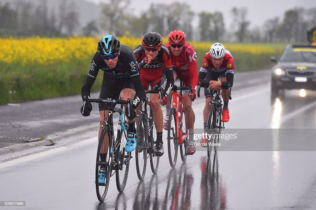Christopher Froome, Tejay VAN GARDEREN of US, Pavel KOCHETKOV of Russia and Bob JUNGELS of Luxemburg in the attack during stage 4 of the Tour de Romandie on April 30, 2016 in Villars-sur-Ollon, Switzerland.