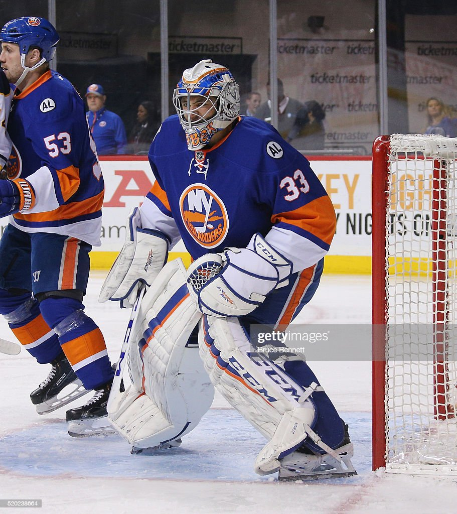 Christopher Gibson #33 of the New York Islanders skates against the Buffalo Sabres at the Barclays Center on April 9, 2016 in the Brooklyn borough of New York City. The Sabres defeated the Islanders 4-3 in overtime.