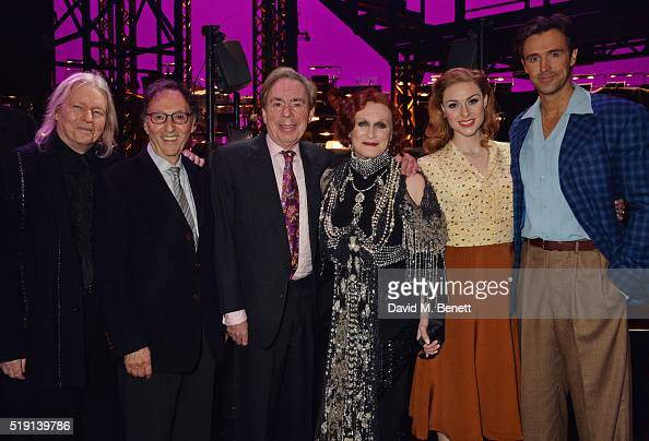 Christopher Hampton Don Black Lord Andrew Lloyd Webber Glenn Close Siobhan Dillon and Michael Xavier pose backstage at the press night performance of...