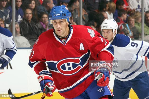 Christopher Higgins of the Montreal Canadiens skates during the game against the Toronto Maple Leafs at the Air Canada Centre October 11 2008 in...